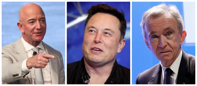 De rijksten der aarde: Jeff Bezos, Elon Musk en Bernard Arnault.