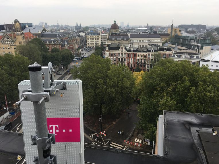 T Mobile plaatste vorig jaar al een 5G-proefmast op het Leidseplein Beeld T Mobile