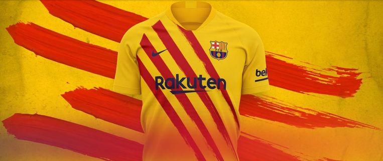 De gele truitjes hebben vooraan vier rode strepen, verwijzend naar de Catalaanse vlag. Beeld FC Barcelona