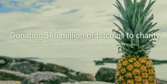 De voorpagina van The Pineapple Fund, een fonds dat bitcoins weggeeft aan goede doelen.