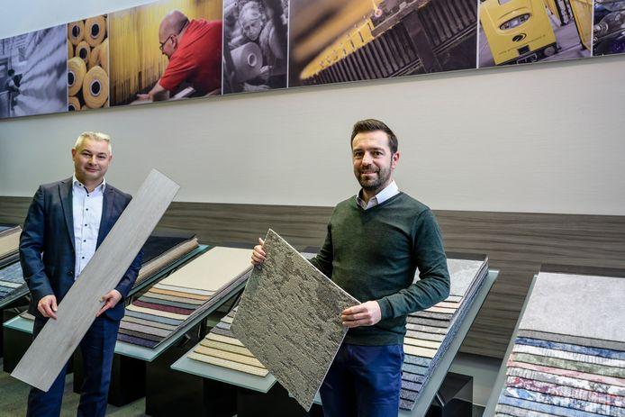 Filip Eeckhout en Benjamin Van Rompaey van Tarkett. Het bedrijf is verkozen tot één van de meest duurzame in de wereld.