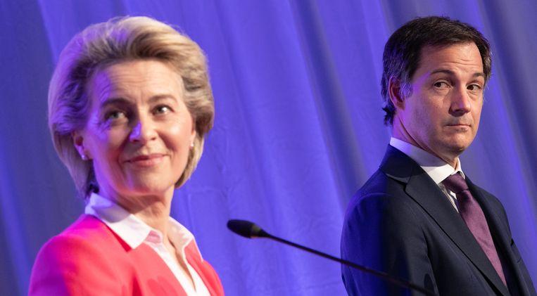 President van de Europese Commissie Ursula Von der Leyen en Alexander De Croo Beeld BELGA