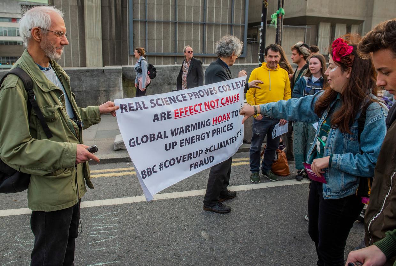 Klimaatsceptici in Londen.