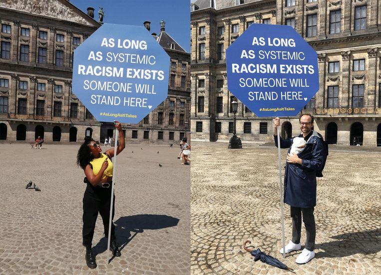Sinds vrijdag 12 juni 2020 staat er iedere dag iemand op de Dam in Amsterdam met het bord: 'Zolang er institutioneel racisme is, staat hier iemand'.  Beeld zolanghetnodigis.nl