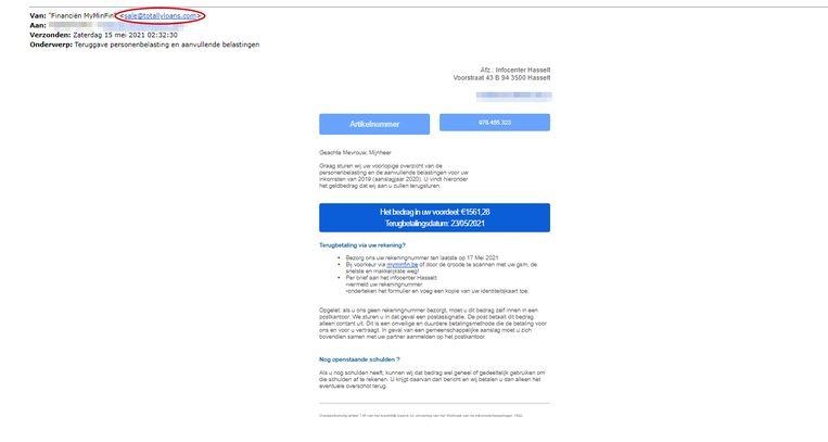 Het e-mailadres van de afzender is duidelijk niet afkomstig van de FOD Financiën. Beeld RV