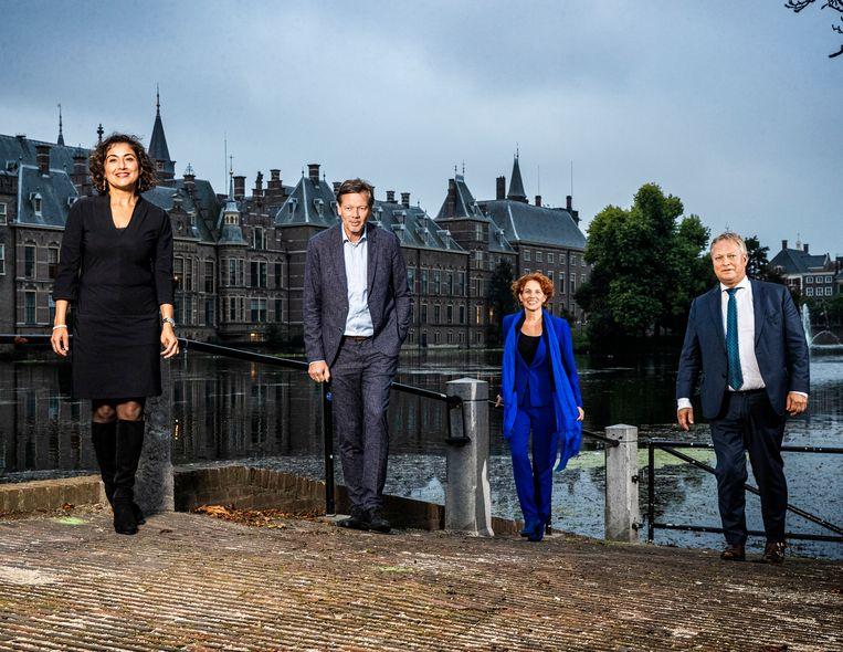 Deze Kamerleden beleven hun laatste Prinsjesdag en blikken terug. Van links af Sadet Karabulut (SP), Joël Voordewind (ChristenUnie), Kathalijne Buitenweg (GroenLinks) en Erik Ziengs (VVD). Beeld Jiri Büller