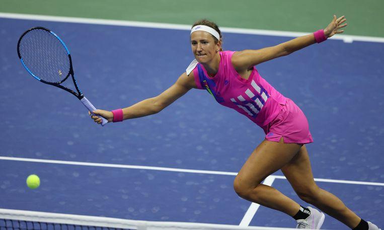 Victoria Azarenka maakt tegen de verwachtingen in kans om de US Open te winnen. Beeld Hollandse Hoogte / EPA