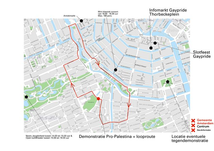De route van de Pro-Palestinademonstratie, zondag in Amsterdam