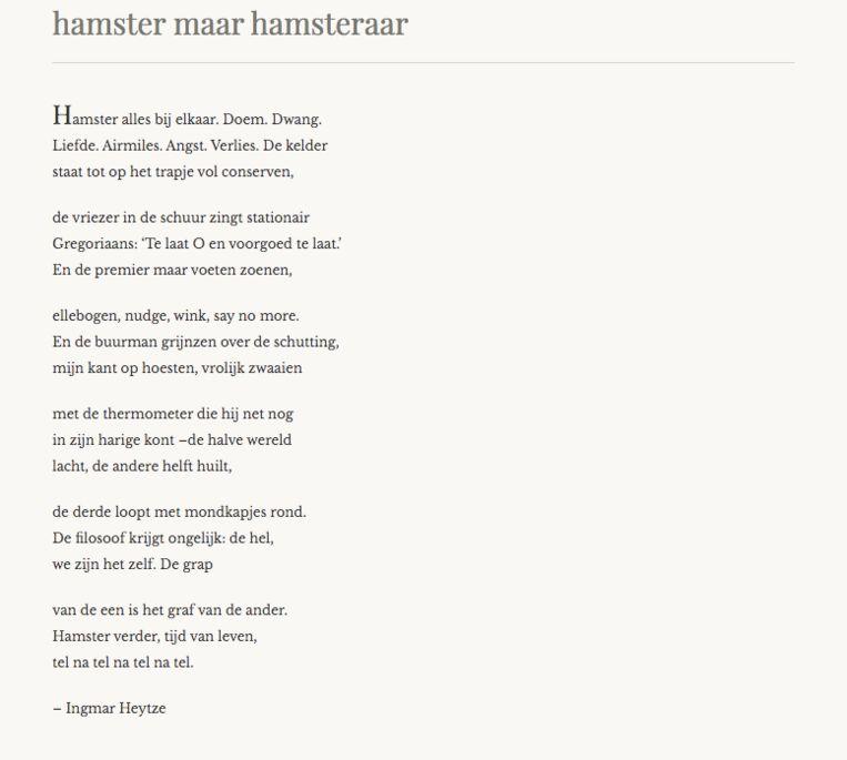 Een coronagedicht van Ingmar Heytze. Beeld coronagedicht.nl