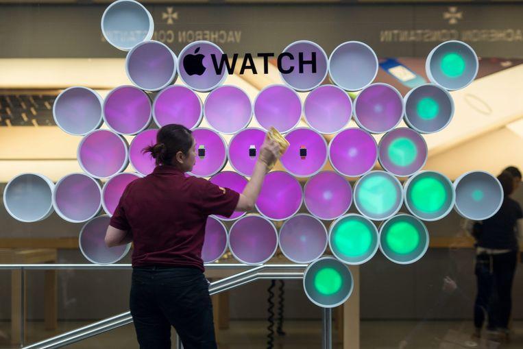 Een Apple Watch-display in een Apple Store in Hong Kong. Beeld epa