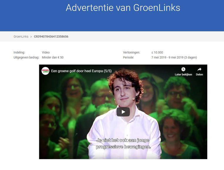 Gegevens uit het transparantierapport van Google over een GroenLinks-advertentie. Beeld Google