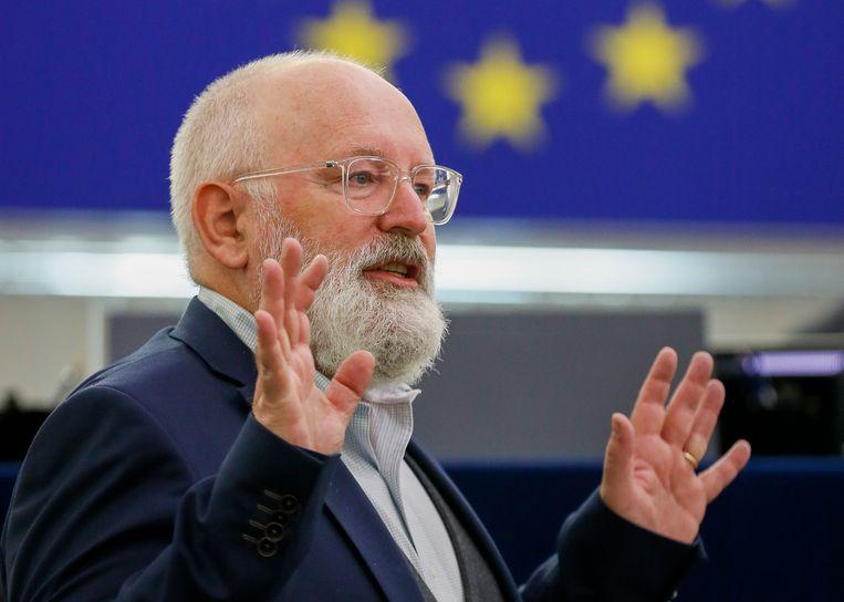 Eurocommissaris Frans Timmermans in augustus tijdens een vergadering met het Europees Parlement. Beeld AP
