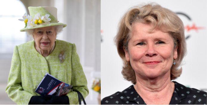 Queen Elizabeth (L) en Imelda Staunton (R)