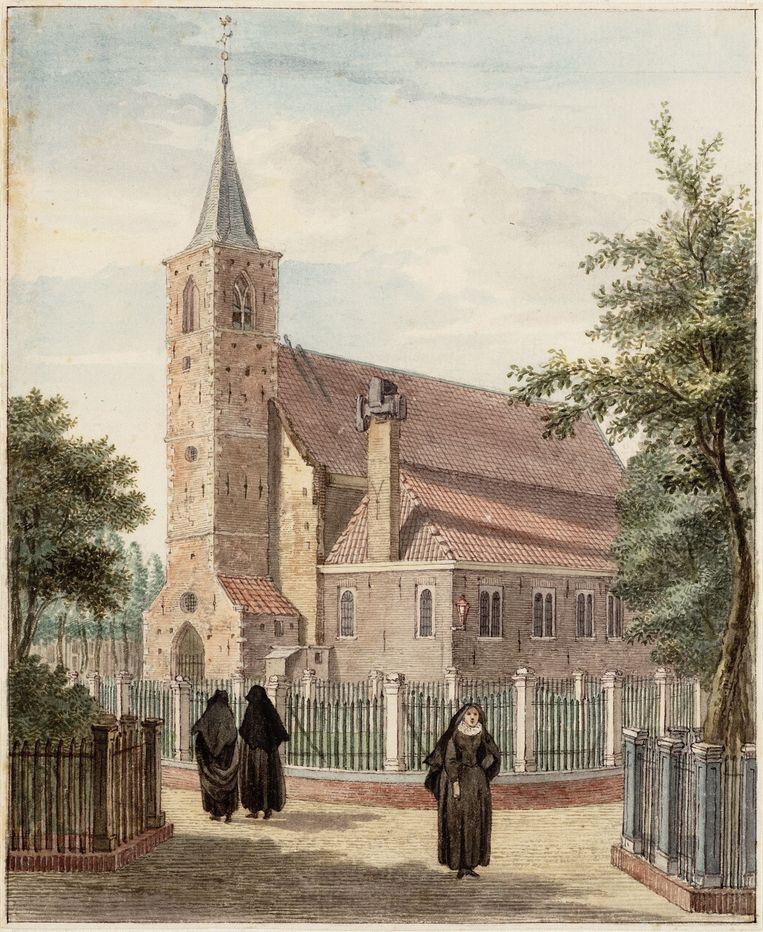 De Engelse Kerk of Begijnenkerk uit 1419, gezien vanuit het poortje naar het Spui. Tekening door Reinier Vinkeles, uit 1768.    Beeld Stadsarchief