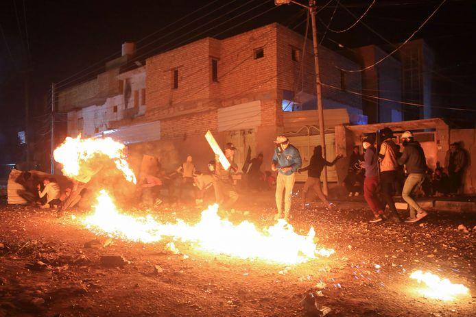 Hevige protesten in de Iraakse stad Karbala op 29 november.