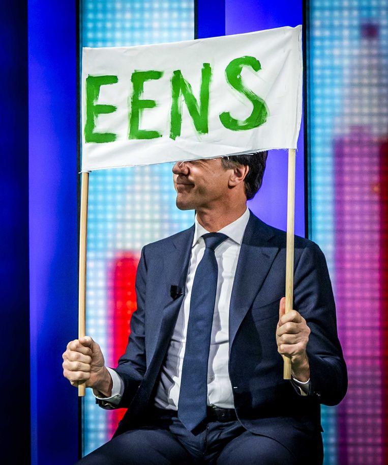 Mark Rutte (VVD) tijdens de opnames van een speciale uitzending van het NOS Jeugdjournaal. Beeld ANP