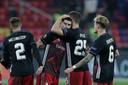 Vreugde bij Feyenoord na het zwaarbevochten gelijkspel in Moskou.