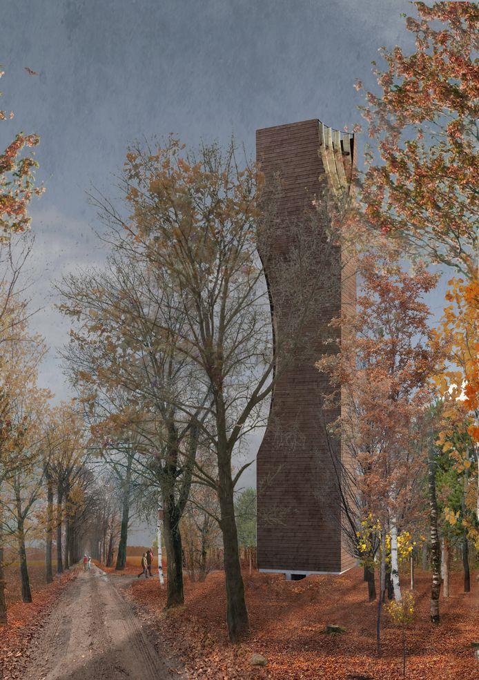 Artist impression van de nieuwe uitkijk-en vleermuizentoren in bosgebied Einderheide in Riethoven.