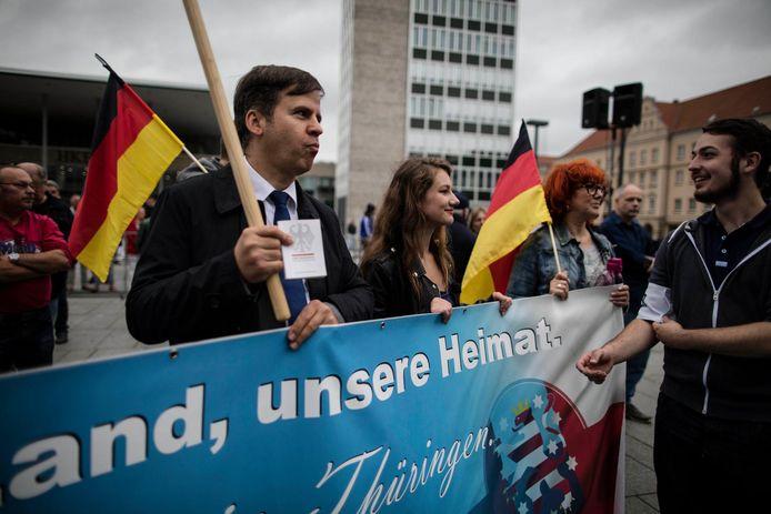 Demonstratie van de antimigrantenpartij Alternative für Deutschland in Neubrandenburg, begin deze maand.