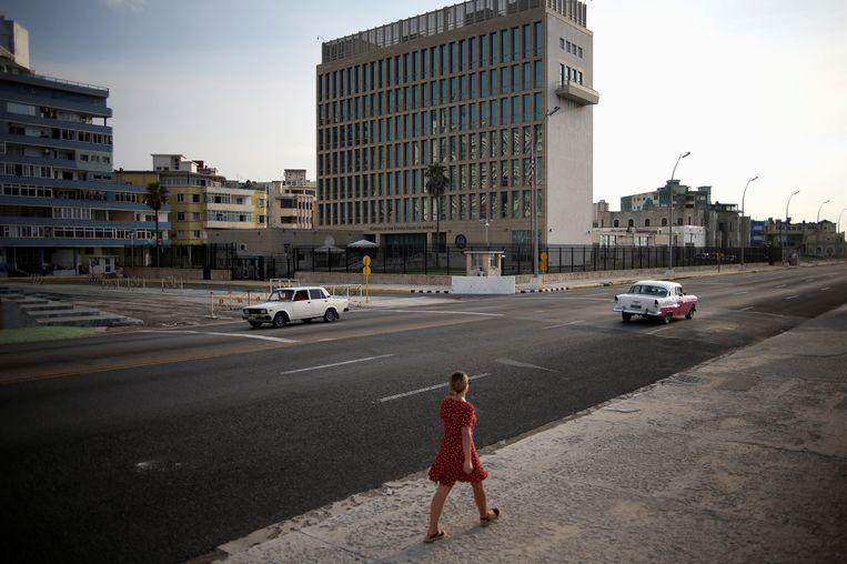De Amerikaanse ambassada in Havana, Cuba.  Beeld REUTERS