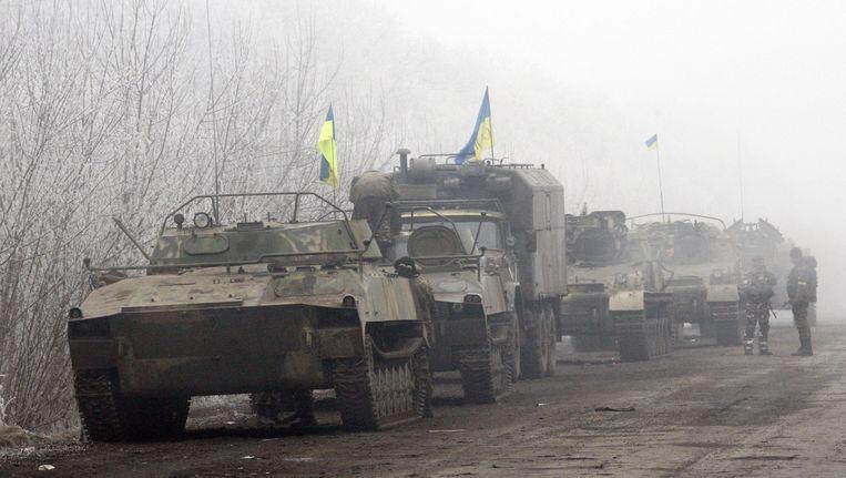 Oekraïense troepen in frontstad Debaltseve. Beeld AFP