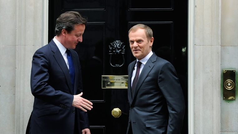 De Britse premier David Cameron ontmoet de Poolse minister-president Donald Tusk Beeld ANP