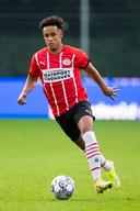 Fredrik Oppegard tijdens het duel van Jong PSV met FC Eindhoven van augustus.