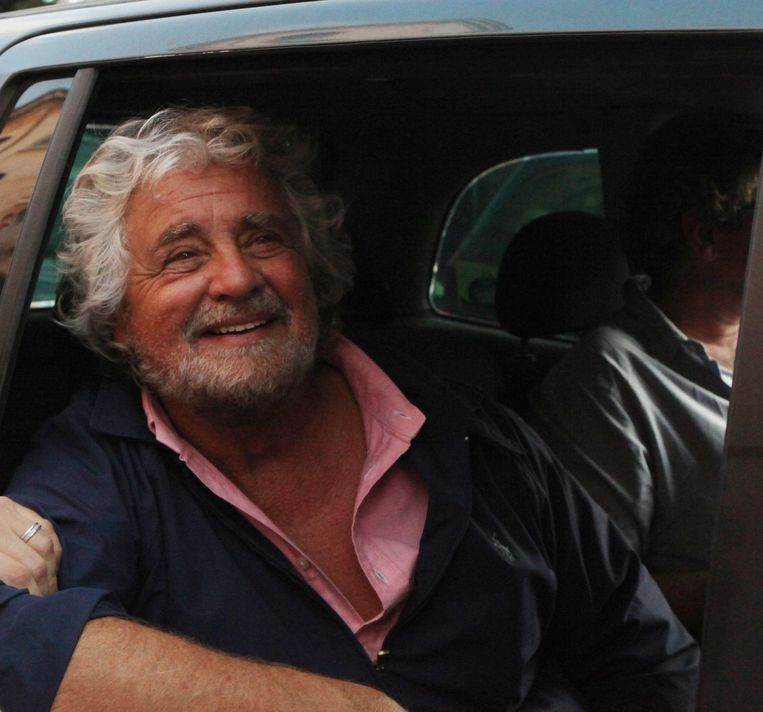 Beppe Grillo van de Italiaanse Vijfsterrenbeweging. Beeld photo_news