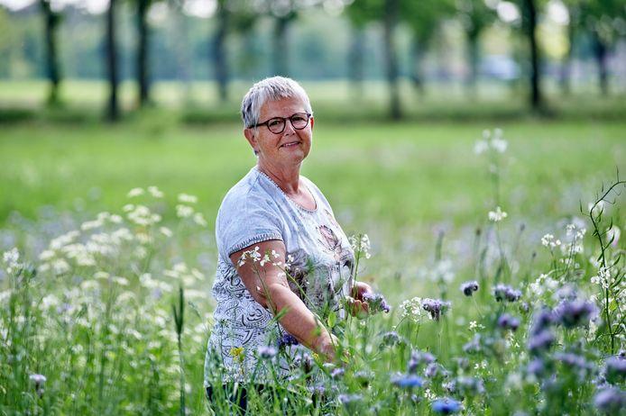 Dora Gijsbers- van de Crommenacker in het veld met wilde bloemen naast haar woning te Venhorst.