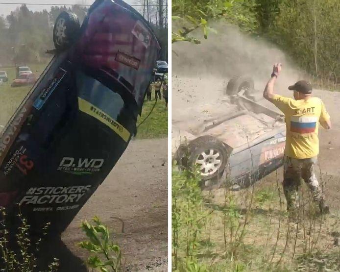 Un pilote de rallye a perdu le contrôle de sa voiture à Priozersk, en Russie.