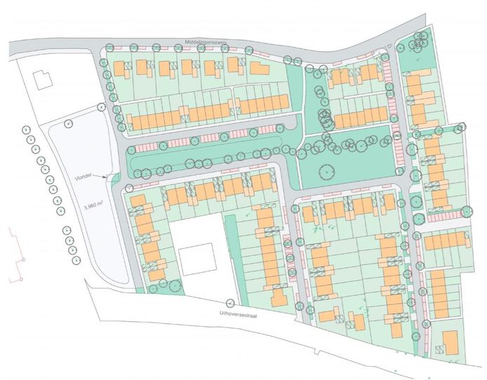 Het stratenplan van de wijk Groene Akkers in Hedel.