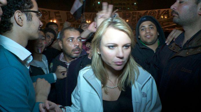 Lara Logan net voor het moment dat ze zou aangerand worden op het Tahrirplein.