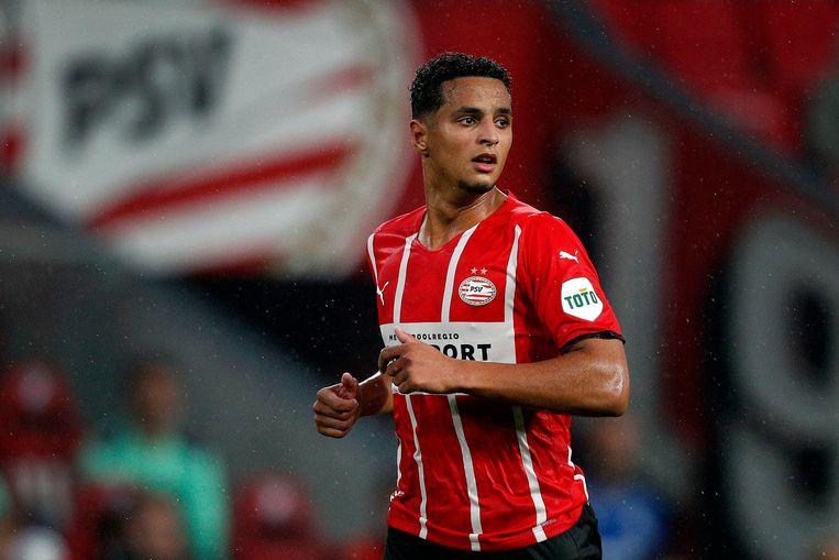 Mohamed Ihattaren twee weken geleden tijdens het vriendschappelijke duel tussen PSV en PAOK FC. Beeld Hollandse Hoogte /  ANP