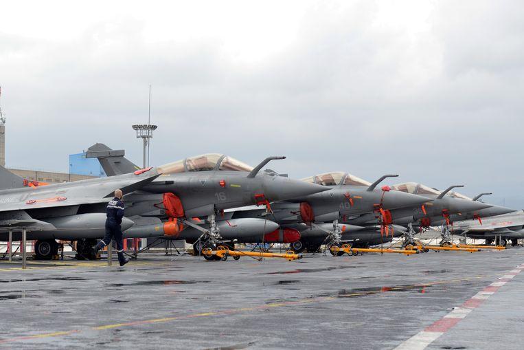 Franse Rafale-gevechtsvliegtuigen op archiefbeeld. Beeld REUTERS