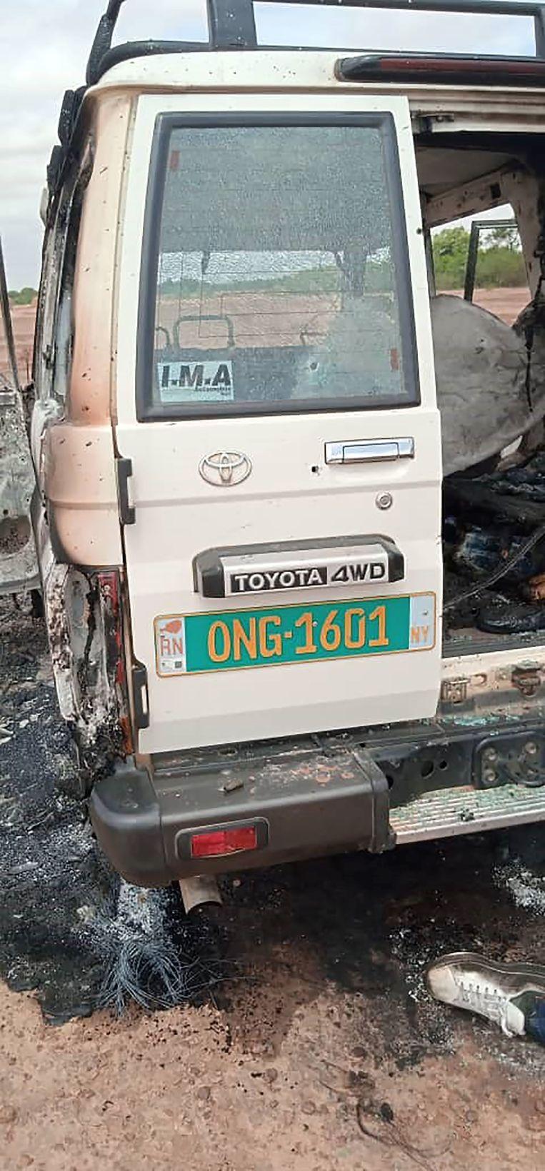 De auto waarin de slachtoffers reden. Beeld AFP