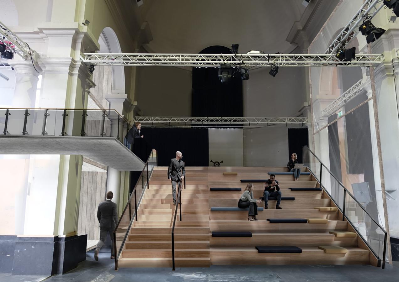 Er is in de Sint Jan straks ook ruimte voor een tribune om bijvoorbeeld toneelvoorstellingen te kunnen bekijken.