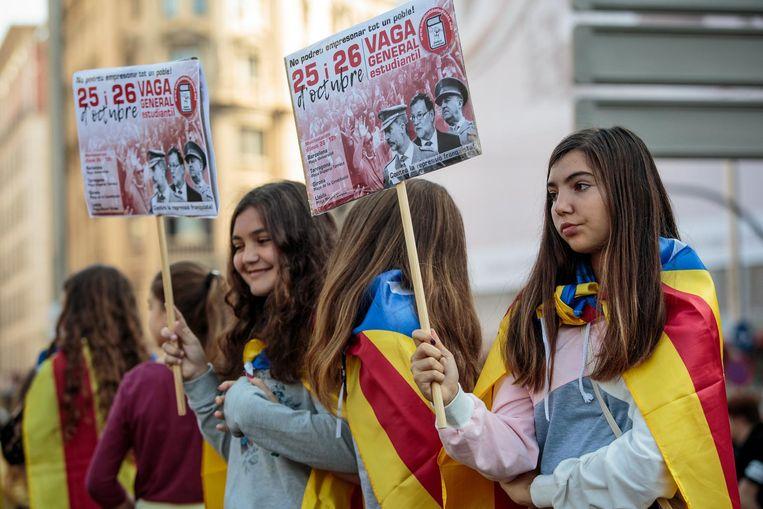 Demonstranten betogen in Barcelona voor onafhankelijk. Beeld getty