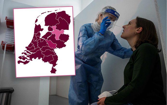 De GGD-regio IJsselland (roze) is verlost van het predikaat 'zeer ernstig' op het coronadashboard van de rijksoverheid en heeft nu het etiket 'zorgelijk'. Maar ook dat baart weer zorgen: mensen kunnen ten onrechte het idee krijgen dat er weer meer mogelijk is.