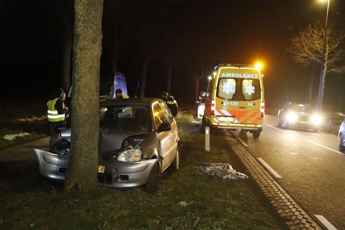 De auto is tegen een boom gebotst in Rijkevoort.