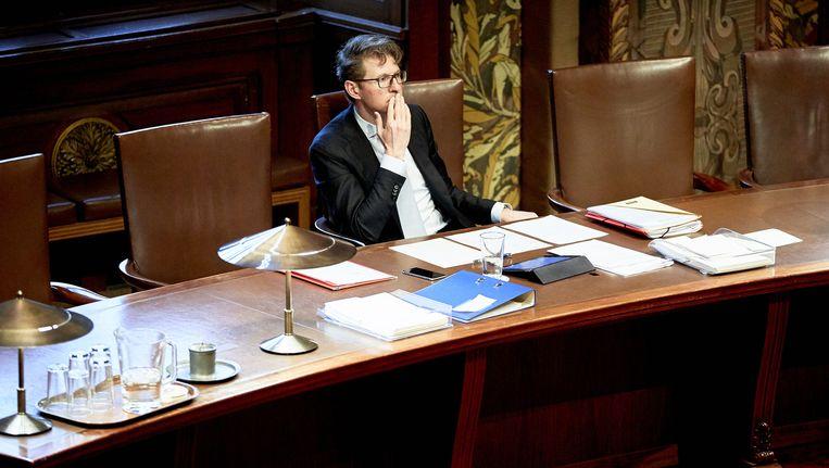 Staatssecretaris Sander Dekker in de Eerste Kamer. Beeld anp