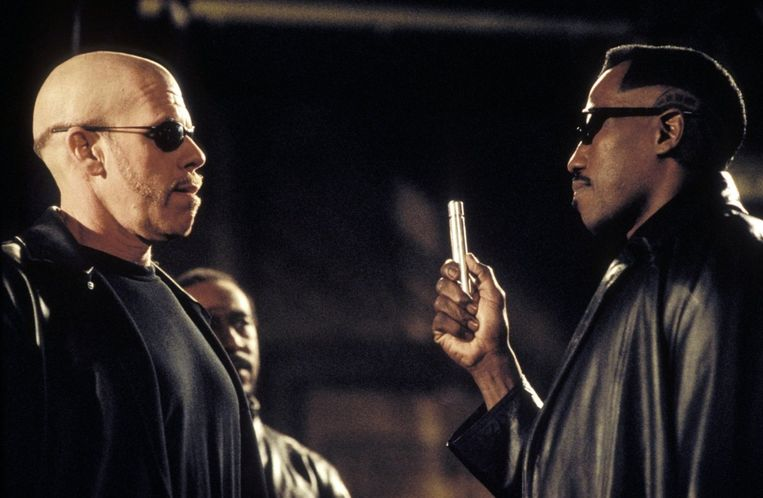 Ron Perlman (links) en Wesley Snipes in Blade II. Beeld