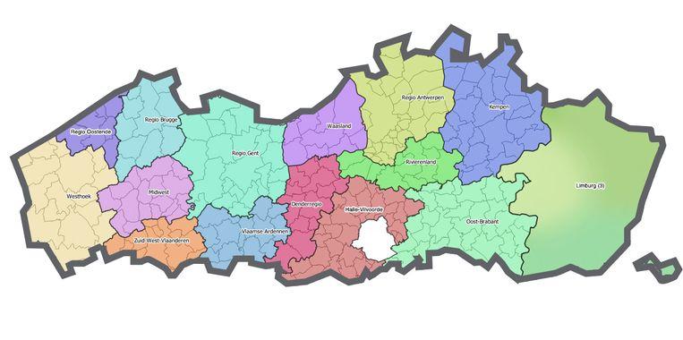 De 17 Vlaamse regio's. Beeld Vlaamse Regering