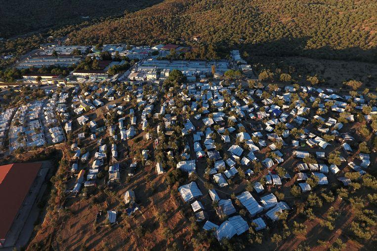 Een luchtbeeld van het vluchtelingenkamp Moria op het Griekse eiland Lesbos.