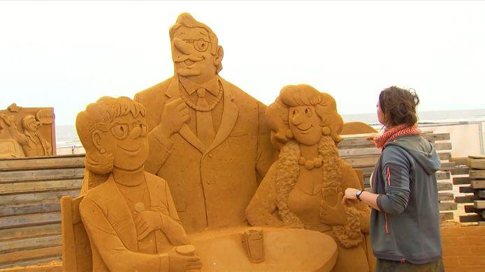 Het zandsculpturenfestival in Westende staat dit jaar helemaal in het teken van F.C. De Kampioenen.