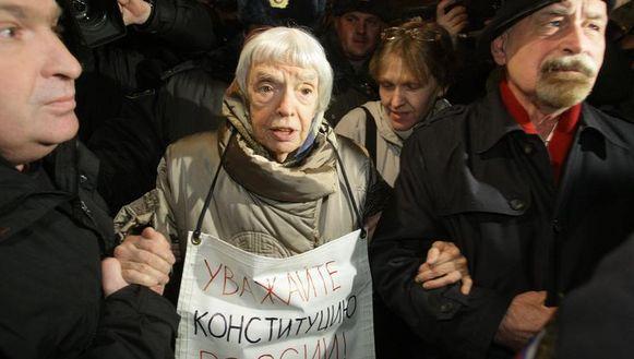 Ook Lyudmila Alekseyeva, van de mensenrechtenorganisatie Helsinki Group, werd aangehouden.