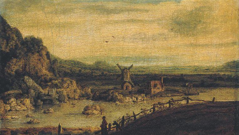 Landschap met Windmolen, canvas, 20 x 30.5 cm, ca. 1620-25. Beeld privé-collectie