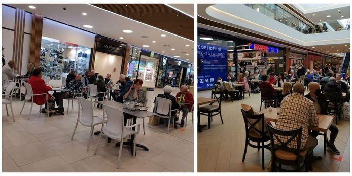 In Shoppingcenter Westland in Anderlecht kon je zaterdag een tijdje van een indoorterrasje genieten.