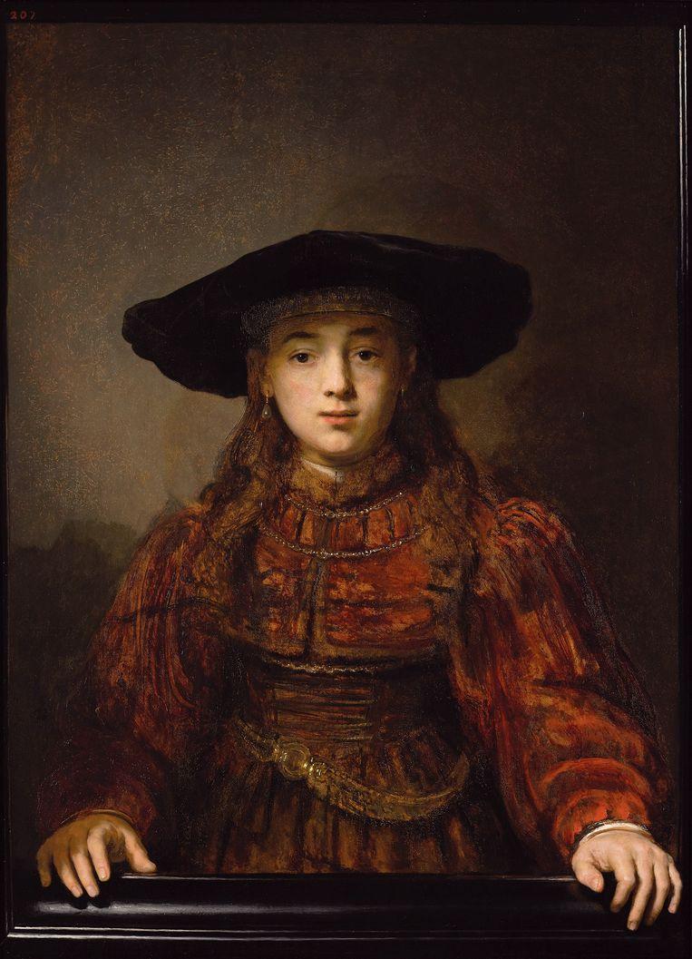 Schilderij 'Meisje in een schilderijlijst' van Rembrandt. Beeld