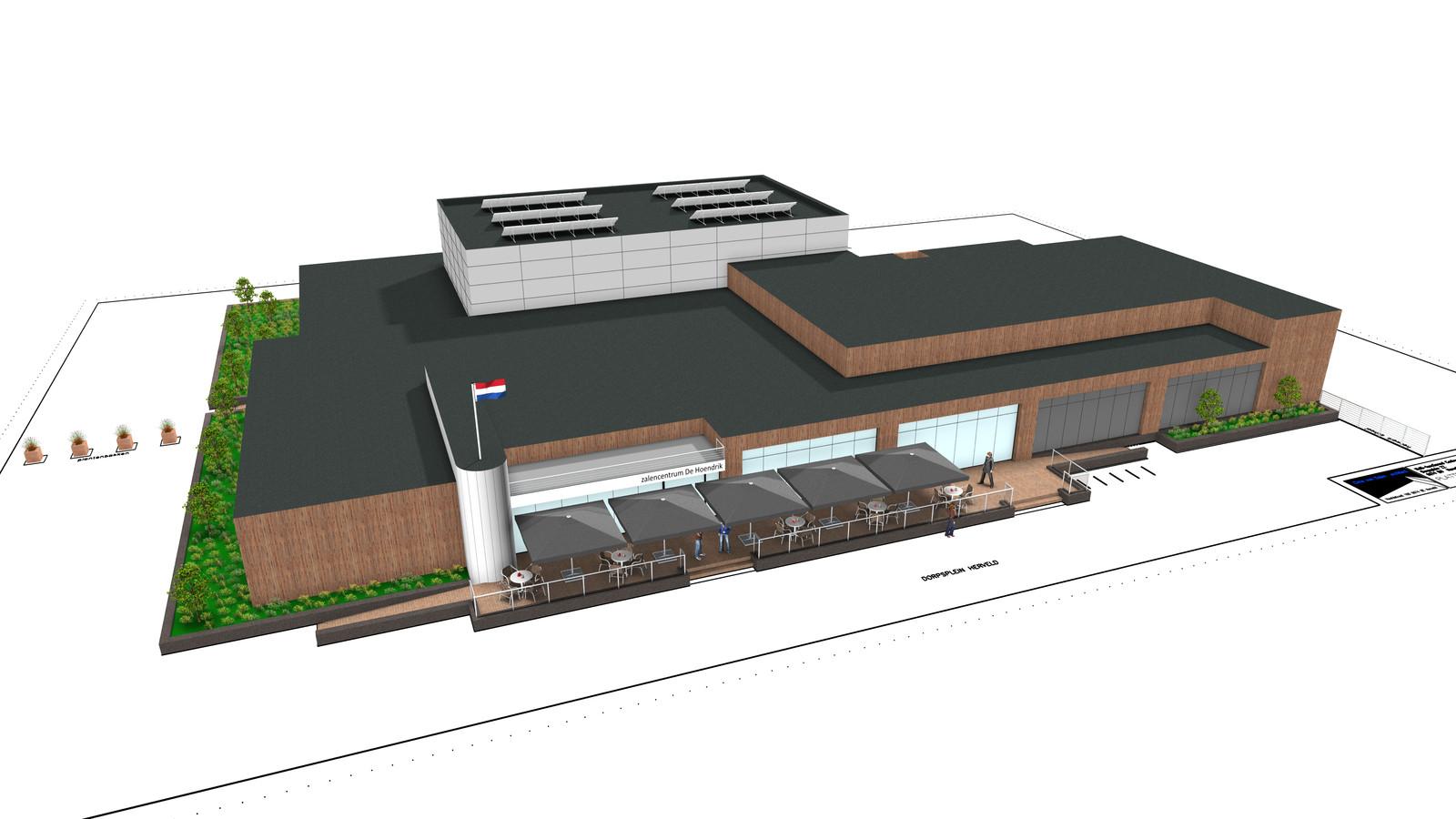 Het nieuwe dorpshuis, mét erachter een sportzaal, in Herveld