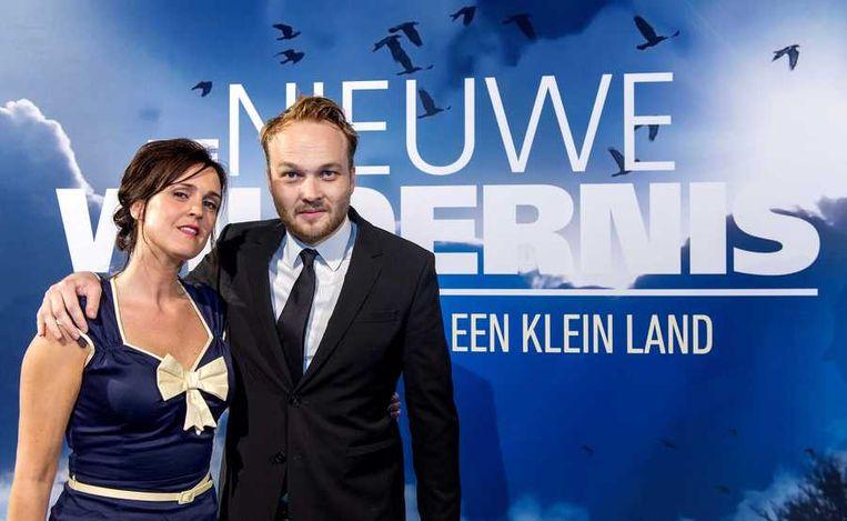 Schrijver en televisiepresentator Arjen Lubach en presentatrice van Vroege Vogels Janine Abbring. Beeld anp
